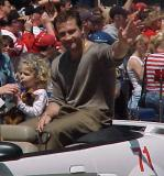 Jiri Slegr waves to fans during the parade honoring the Red Wings' 2002 Stanley Cup Championship.