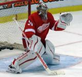 Petr Mrazek squares to a shooter during pre-game warmups.