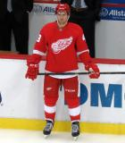 Darren Helm stands near the bench prior to the start of the first period.
