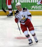 Nick Jensen skates in the neutral zone during pre-game warmups before a Grand Rapids Griffins game.