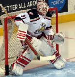 Jared Coreau sets up in his crease during pre-game warmups before a Grand Rapids Griffins game.