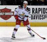 Louis-Marc Aubry looks to make a pass during pre-game warmups before a Grand Rapids Griffins game.
