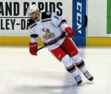 Brian Lashoff skates across the blue line during pre-game warmups before a Grand Rapids Griffins game.