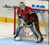 Leland Irving of the Iowa Wild gets set in his crease during pre-game warmups before a game against the Grand Rapids Griffins.
