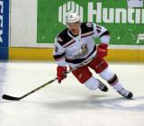 Colin Campbell turns in the neutral zone during pre-game warmups before a Grand Rapids Griffins game.