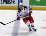 Joel Rechlicz skates across the blue line during pre-game warmups before a Grand Rapids Griffins game.