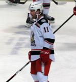 Daniel Cleary stands in the neutral zone during pre-game warmups before a Grand Rapids Griffins game.