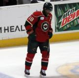 Maxime Fortunus of the Iowa Wild skates during pre-game warmups before a game against the Grand Rapids Griffins.