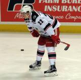 Louis-Marc Aubry crouches during pre-game warmups before a Grand Rapids Griffins game.