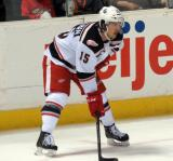 Mitch Callahan lines up for a faceoff during a Grand Rapids Griffins game.