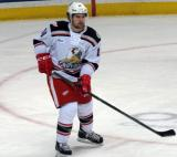Xavier Ouellet watches his pass during a Grand Rapids Griffins game.