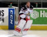 Jared Coreau steps onto the ice as the third star of a Grand Rapids Griffins game.