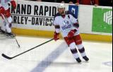 Nathan Paetsch skates at the blue line during pre-game warmups before the Grand Rapids Griffins' Purple Game.