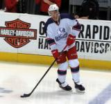 Ryan Sproul skates near the bench during pre-game warmups before the Grand Rapids Griffins' Purple Game.