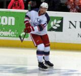 Joakim Andersson makes a pass during pre-game warmups before the Grand Rapids Griffins' Purple Game.