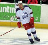 Anthony Mantha skates near the bench during pre-game warmups before the Grand Rapids Griffins' Purple Game.