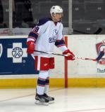 Tomas Nosek stands in the corner during pre-game warmups before the Grand Rapids Griffins' Purple Game.