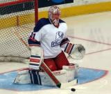 Jared Coreau stops a shot during pre-game warmups before the Grand Rapids Griffins' Purple Game.