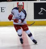 Louis-Marc Aubry skates at center ice during pre-game warmups before the Grand Rapids Griffins' Purple Game.