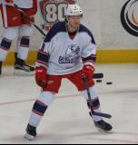 Mark Zengerle skates backwards during pre-game warmups before the Grand Rapids Griffins' Purple Game.