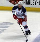Daniel Cleary skates at the blue line during pre-game warmups before the Grand Rapids Griffins' Purple Game.