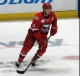 Patrick Brown of the Charlotte Checkers skates during pre-game warmups before a game against the Grand Rapids Griffins.