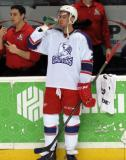 Ryan Sproul takes a drink of Gatorade at the bench during pre-game warmups before the Grand Rapids Griffins' Purple Game.