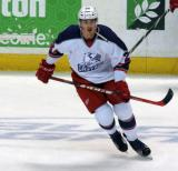 Louis-Marc Aubry skates near the boards during pre-game warmups before the Grand Rapids Griffins' Purple Game.