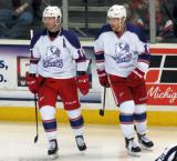 Daniel Cleary and Joakim Andersson skate during a stop in play in the Grand Rapids Griffins' Purple Game.