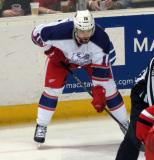 Brian Lashoff gets set for a faceoff during the Grand Rapids Griffins' Purple Game.
