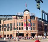 Coors Field decorated with Stadium Series banners prior to the 2016 Stadium Series Alumni Game.