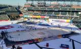 The 2016 Stadium Series rink at Coors Field prior to the Alumni Game.