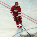 Jiri Fischer skates near center ice during pre-game warmups before the 2016 Stadium Series Alumni Game at Coors Field.