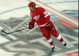 Tomas Holmstrom skates at center ice during pre-game warmups before the 2016 Stadium Series Alumni Game at Coors Field.