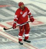 Joe Kocur skates at center ice prior to the start of the 2016 Stadium Series Alumni Game at Coors Field.