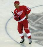 Chris Chelios skates near center ice prior to the start of the 2016 Stadium Series Alumni Game at Coors Field.