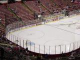 A wide-angle view of the NHL-mandated nets hanging at the end of the ice at Joe Louis Arena.