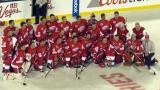 The Detroit Red Wings alumni team poses for a photo following the 2016 Stadium Series Alumni Game at Coors Field.