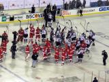The Detroit Red Wings and Colorado Avalanche alumni teams salute the fans following the 2016 Stadium Series Alumni Game at Coors Field.