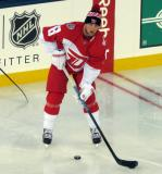 Justin Abdelkader stands in the neutral zone during pre-game warmups prior to the Stadium Series game in Denver.