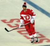 Mike Green stands inside the blue line during pre-game warmups prior to the Stadium Series game in Denver.
