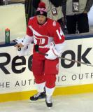 Gustav Nyquist stands at the bench during pre-game warmups prior to the Stadium Series game in Denver.