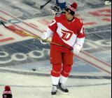 Alexey Marchenko stands at center ice during pre-game warmups prior to the Stadium Series game in Denver.