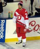 Tomas Tatar stands at the bench during pre-game warmups prior to the Stadium Series game in Denver.