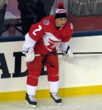 Brendan Smith crouches near the boards during pre-game warmups prior to the Stadium Series game in Denver.