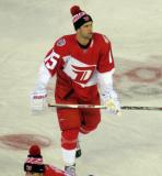 Riley Sheahan skates during pre-game warmups prior to the Stadium Series game in Denver.