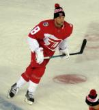 Justin Abdelkader skates at the blue line during pre-game warmups prior to the Stadium Series game in Denver.
