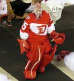 Jimmy Howard walks to the Red Wings' dugout after pre-game warmups prior to the Stadium Series game in Denver.