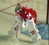 Petr Mrazek gets set in his crease at the start of the second period of the Stadium Series game in Denver.
