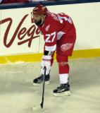 Kyle Quincey gets set for a faceoff during the Stadium Series game in Denver.